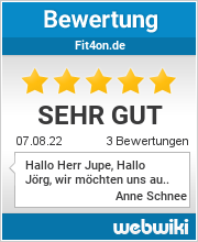 Bewertungen zu fit4on.de