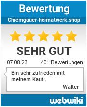 Kundenbewertungen zu Chiemgauer-Heimatwerk.shop