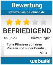 Bewertungen zu pflanzenwelt-luehnen.de