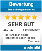 Bewertungen zu streamboxgenerator.eu